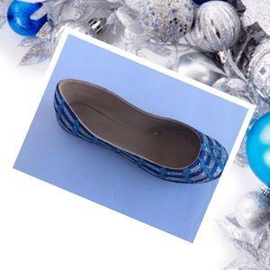 Women's Blue & Silver Christmas Ornament Flats